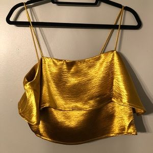 Gold UO Silence + Noise Cropped Tank Top
